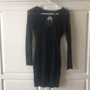 Material girl black lace long sleeved dress